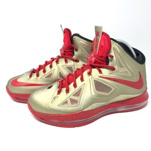 Nike LeBron X Red And Gold Size 9.5